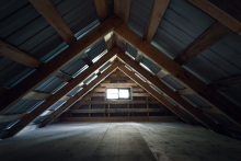 Unfinished attic space in house