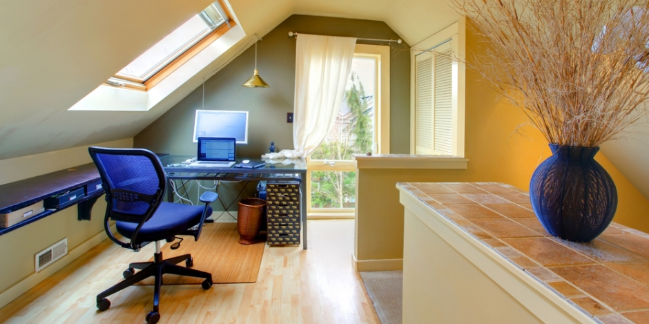 attic bonus room converted to a home office